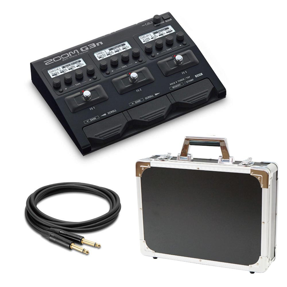 ZOOM G3n マルチエフェクター Dicon Audio エフェクターケース HOSA ノイトリックプラグ採用ギターケーブル4.5m 3点セット