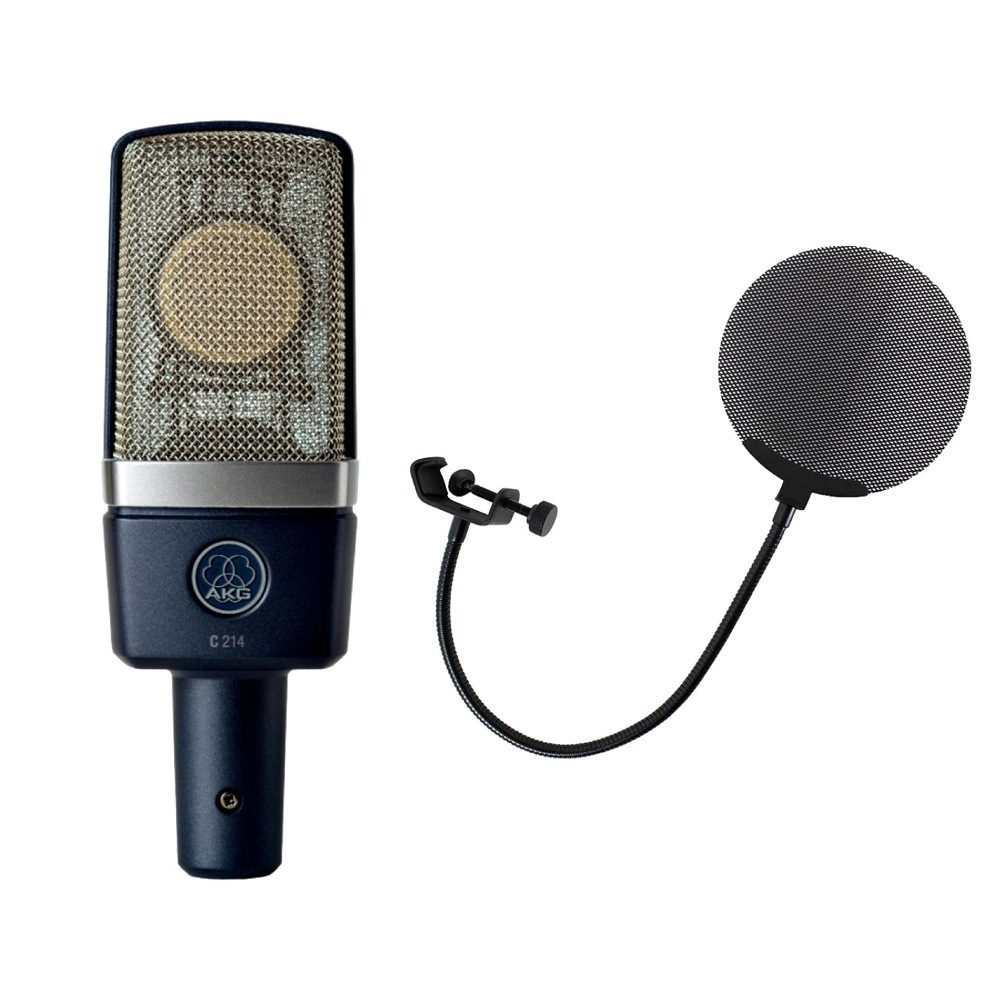 AKG C214 コンデンサーマイク Dicon Audio DCP-2 メタルポップフィルター 丸型 2点セット