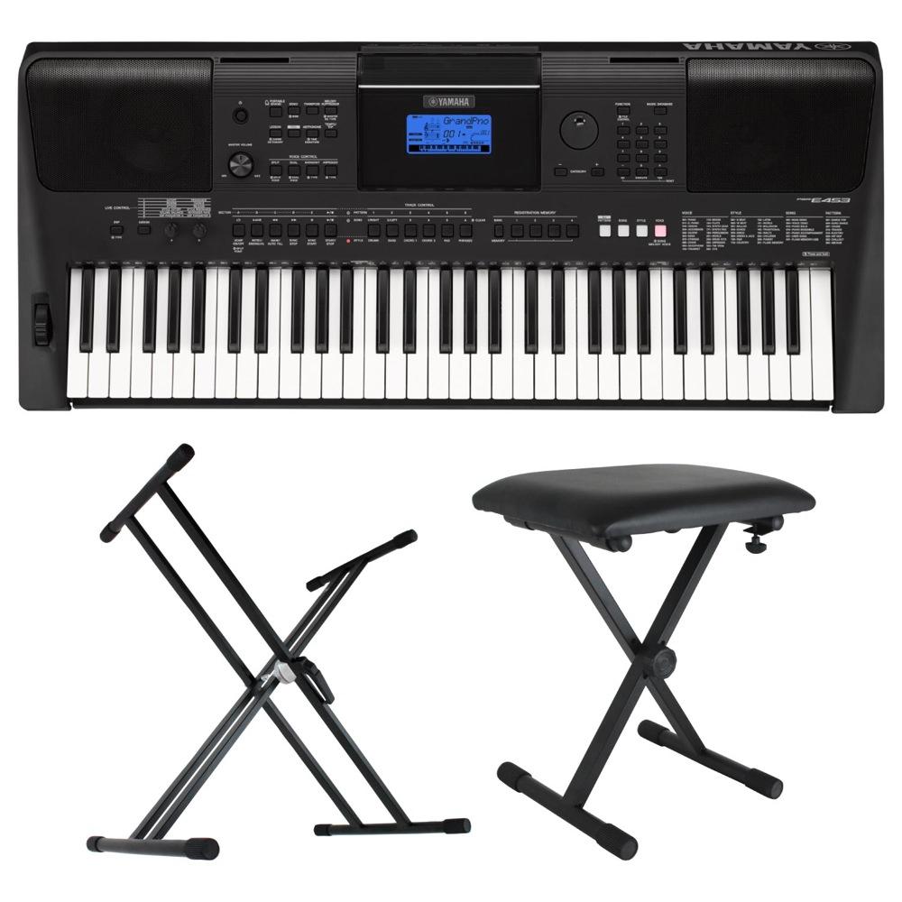YAMAHA PSR-E453 PORTATONE 61鍵盤 電子キーボード Dicon Audio X型キーボードスタンド キーボードベンチ 3点セット