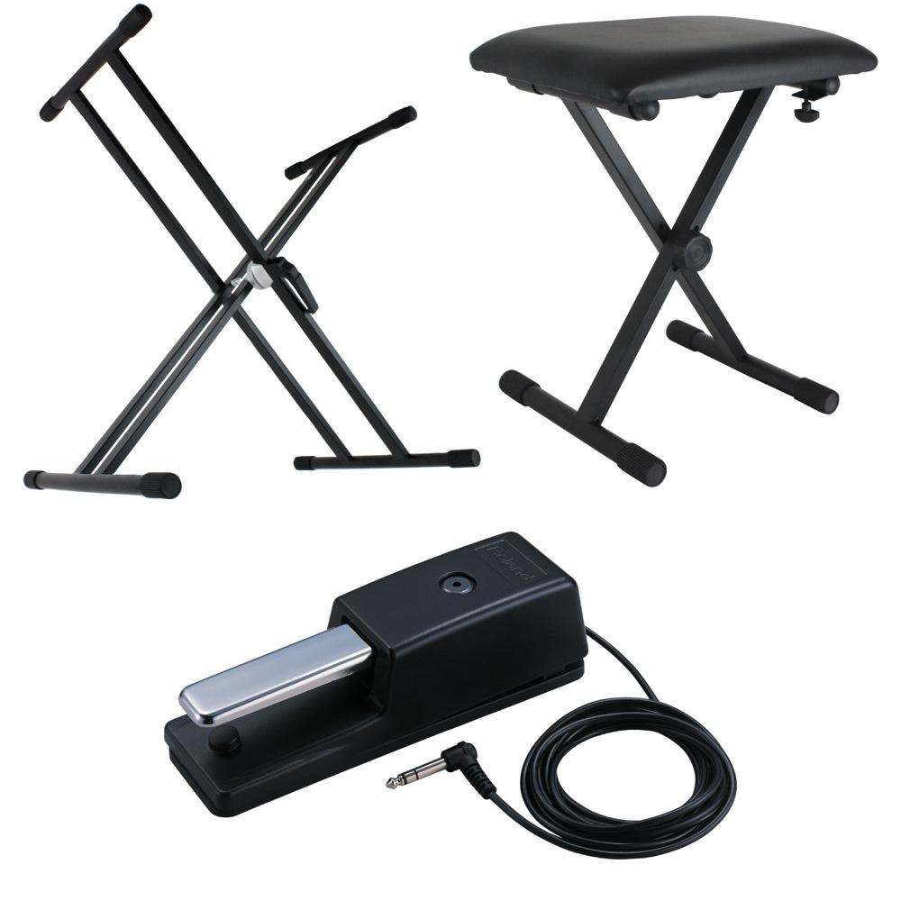 Dicon Audio X型キーボードスタンド ピアノ椅子 ROLAND ダンパーペダル 電子ピアノアクセサリ 3点セット