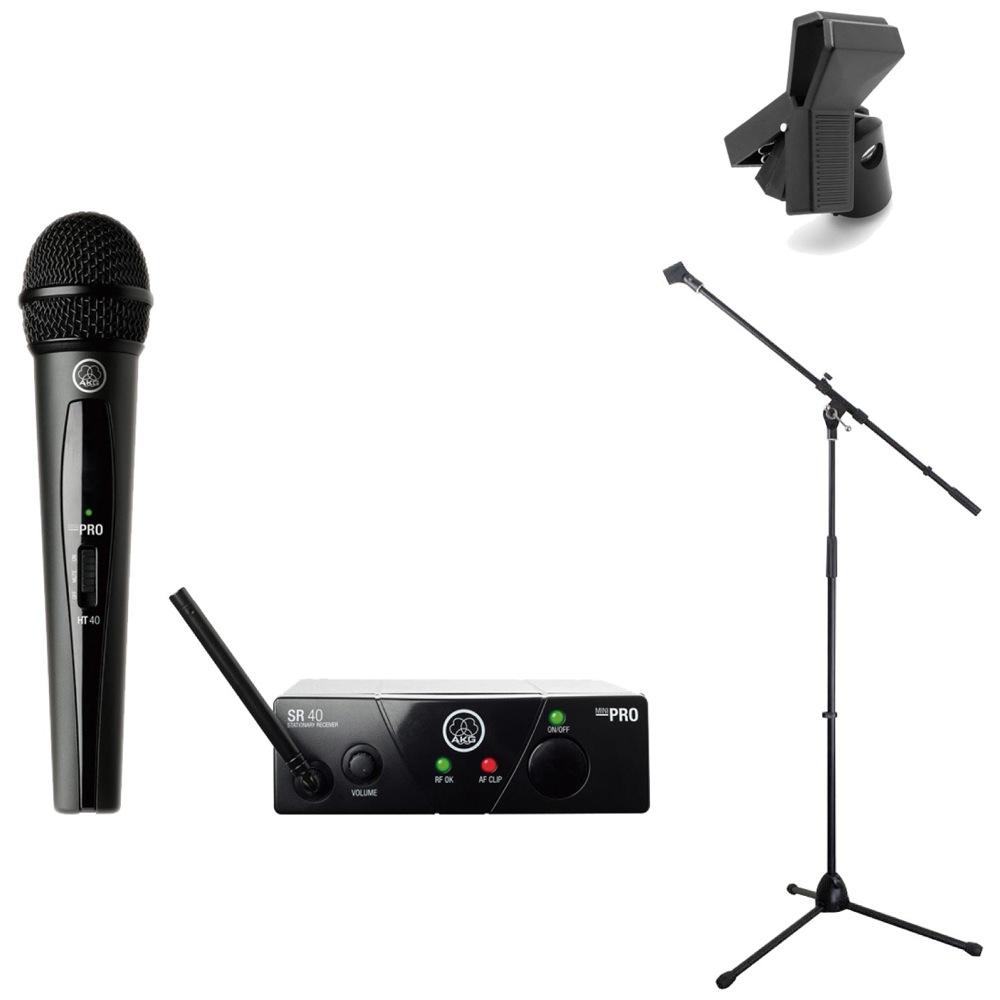 AKG WMS40 PRO MINI VOCAL SET JP1 ワイアレスマイク Dicon Audio MS-003 マイクスタンド Hosa MHR-122 マイクホルダー 3点セット