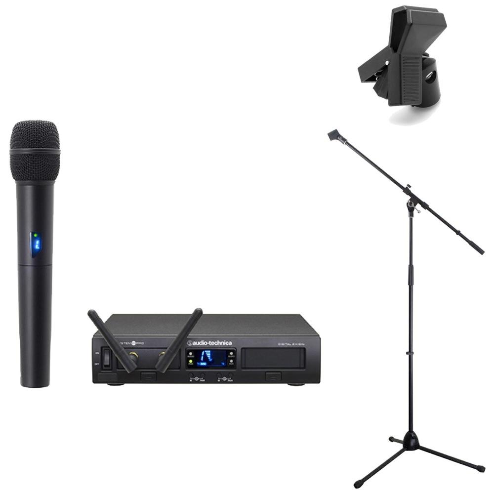 AUDIO-TECHNICA ATW-1302 ラックマウント1chマイクロホンワイヤレスシステム Dicon Audio MS-003 マイクスタンド Hosa MHR-122 マイクホルダー 3点セット