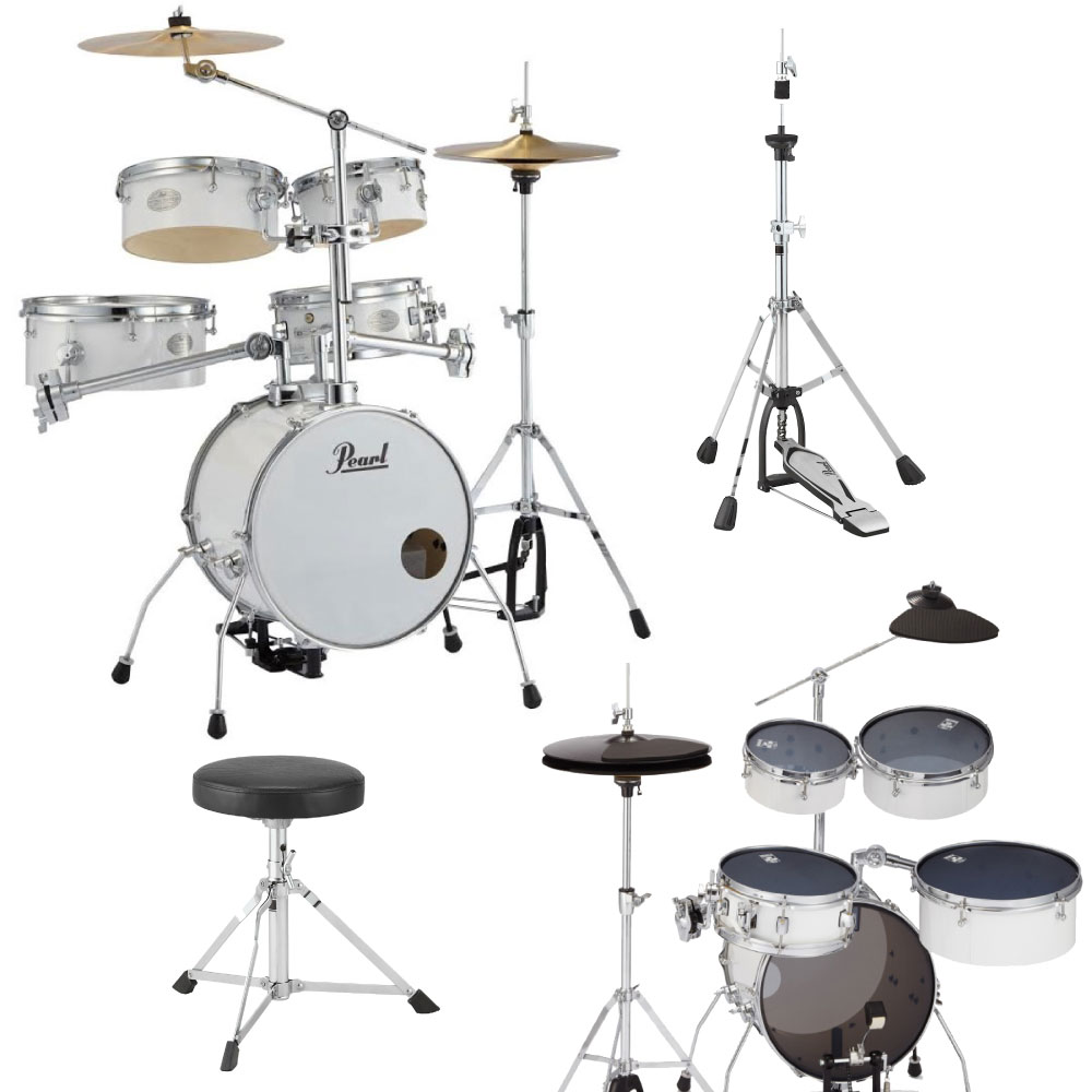 Pearl RT-645N/C #33 Rhythm Traveler Version.3S ピュアホワイト サイレントパックセット&キッズ用ドラムスローン/ジュニアサイズハイハットスタンドセット