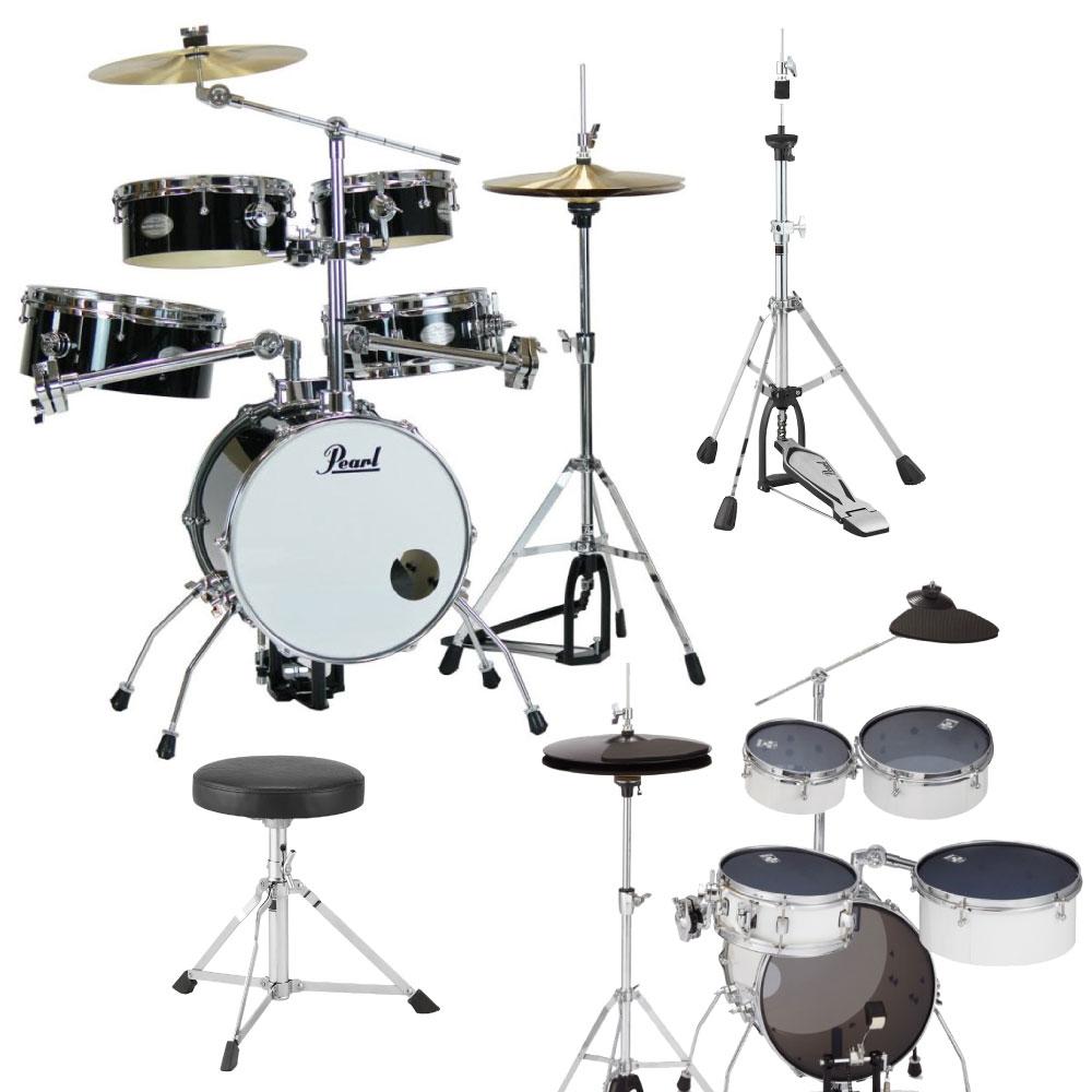 Pearl RT-645N/C #31 Rhythm Traveler Version.3S ジェットブラック サイレントパックセット&キッズ用ドラムスローン/ジュニアサイズハイハットスタンドセット