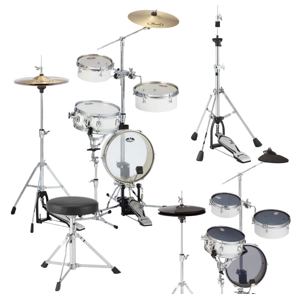 Pearl RT-5124N #33 ピュアホワイト リズムトラベラーライト サイレントパック&キッズ用ドラムスローン/ジュニアサイズハイハットスタンドセット