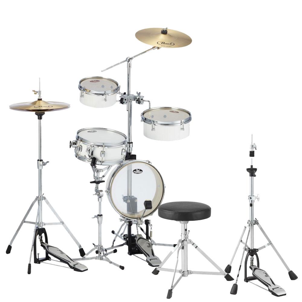 Pearl RT-5124N #33 ピュアホワイト リズムトラベラーライト キッズ用ドラムスローン&ジュニアサイズハイハットスタンドセット