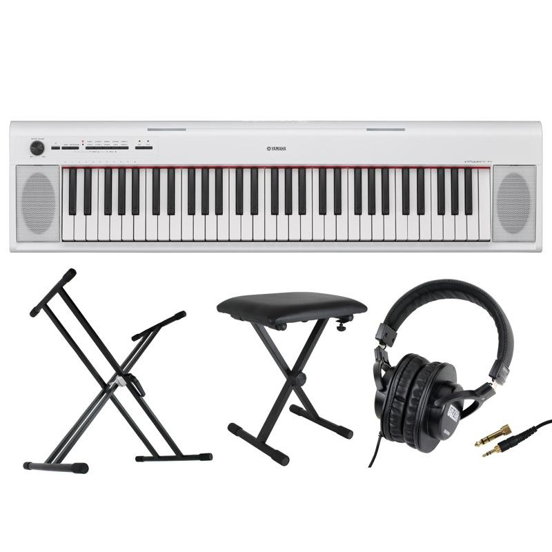 YAMAHA NP-12WH piaggero 61鍵盤 電子キーボード Dicon Audio KS-020 X型キーボードスタンド キーボードベンチ ヘッドホン 4点セット