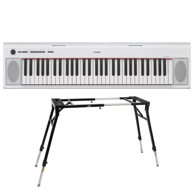 YAMAHA NP-12WH piaggero 61鍵盤 電子キーボード Dicon Audio KS-060 4本脚型 キーボードスタンド 2点セット
