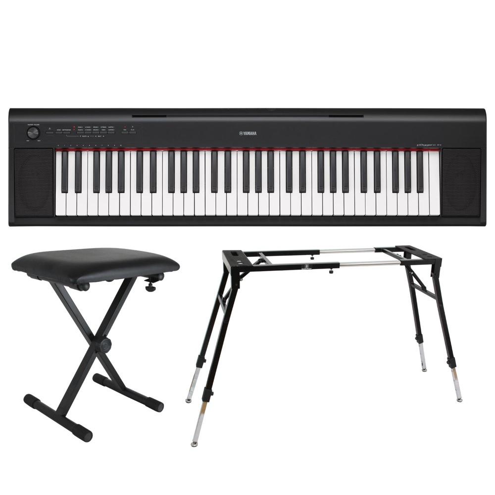 YAMAHA NP-12B piaggero 61鍵盤 電子キーボード Dicon Audio KS-060 4本脚型 キーボードスタンド キーボードベンチ 3点セット
