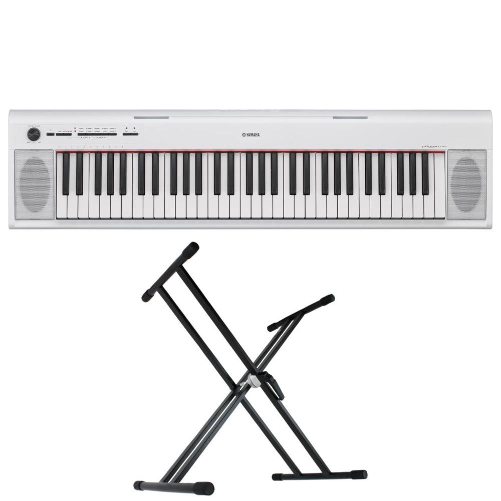 YAMAHA NP-12WH piaggero 61鍵盤 電子キーボード Dicon Audio KS-020 X型キーボードスタンド 2点セット