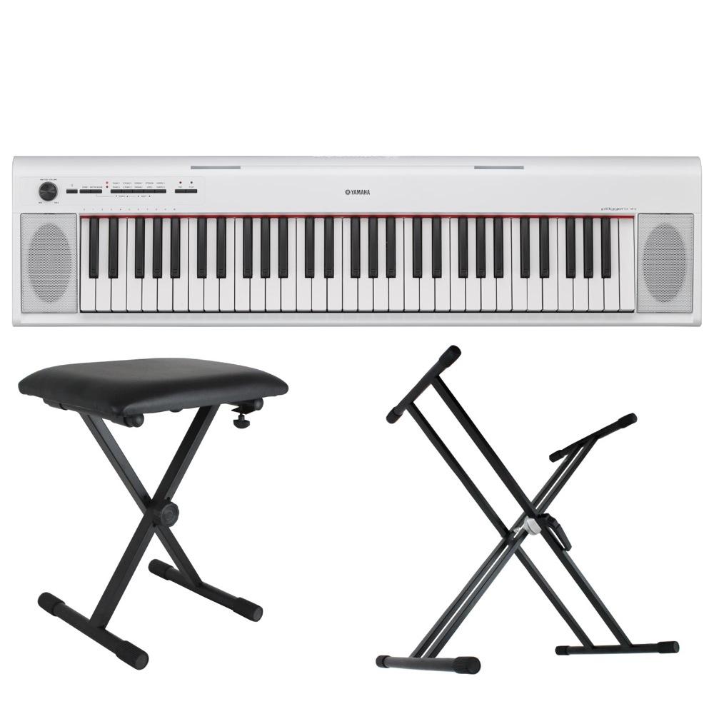 YAMAHA NP-12WH piaggero 61鍵盤 電子キーボード Dicon Audio KS-020 X型キーボードスタンド キーボードベンチ 3点セット