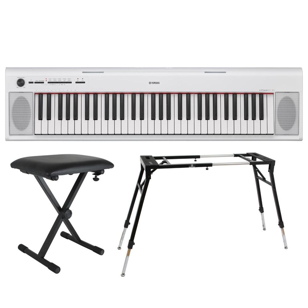 YAMAHA NP-12WH piaggero 61鍵盤 電子キーボード Dicon Audio KS-060 4本脚型 キーボードスタンド キーボードベンチ 3点セット