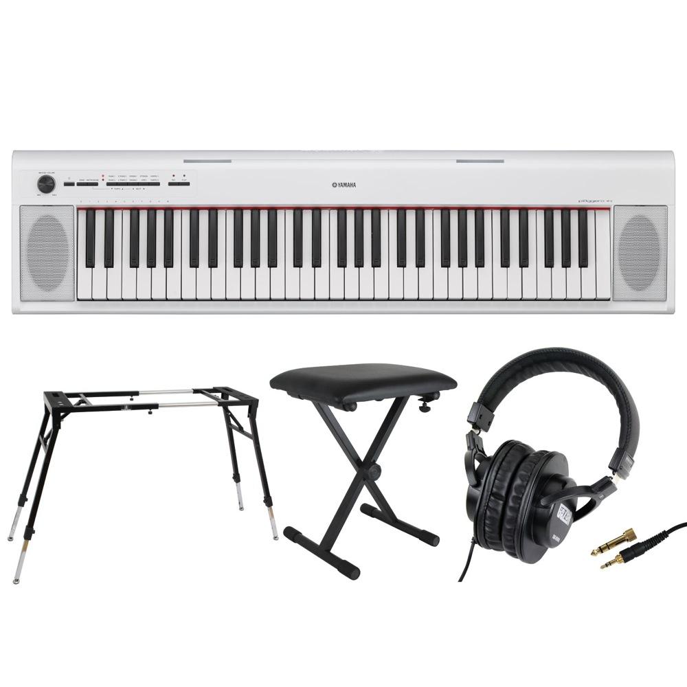 YAMAHA NP-12WH piaggero 61鍵盤 電子キーボード Dicon Audio KS-060 4本脚型 キーボードスタンド キーボードベンチ ヘッドホン 4点セット