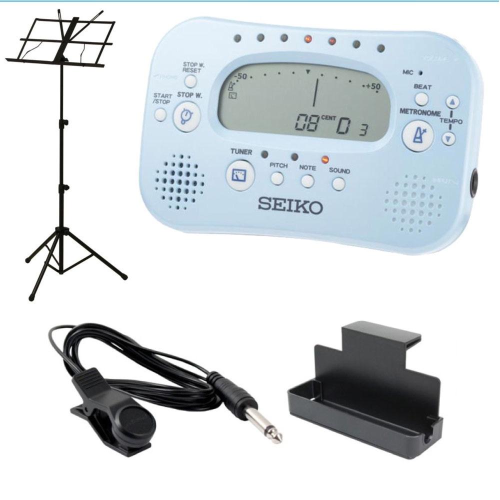 セイコー 譜面台 譜面台ラック チューナー マイク 4点セット SEIKO STH100 L チューナー メトロノーム ARIA AMS-40B 譜面台付き 4点セット