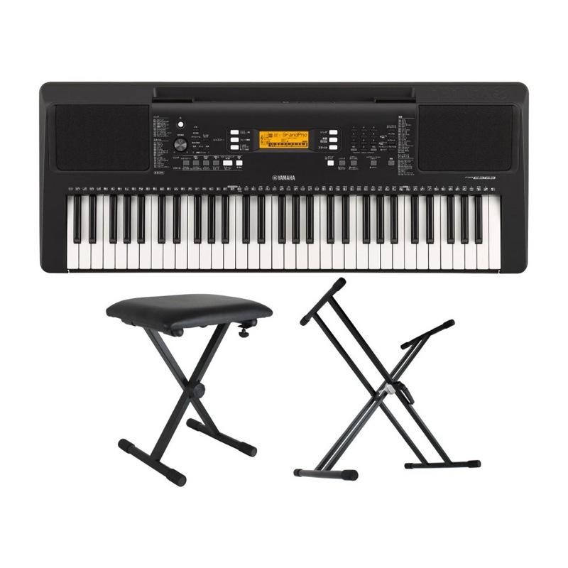 Yamaha PSR-E363 PORTATONE 61 keyboard electronic keyboard Dicon Audio  KS-020 X type keyboard stands keyboard bench three points set