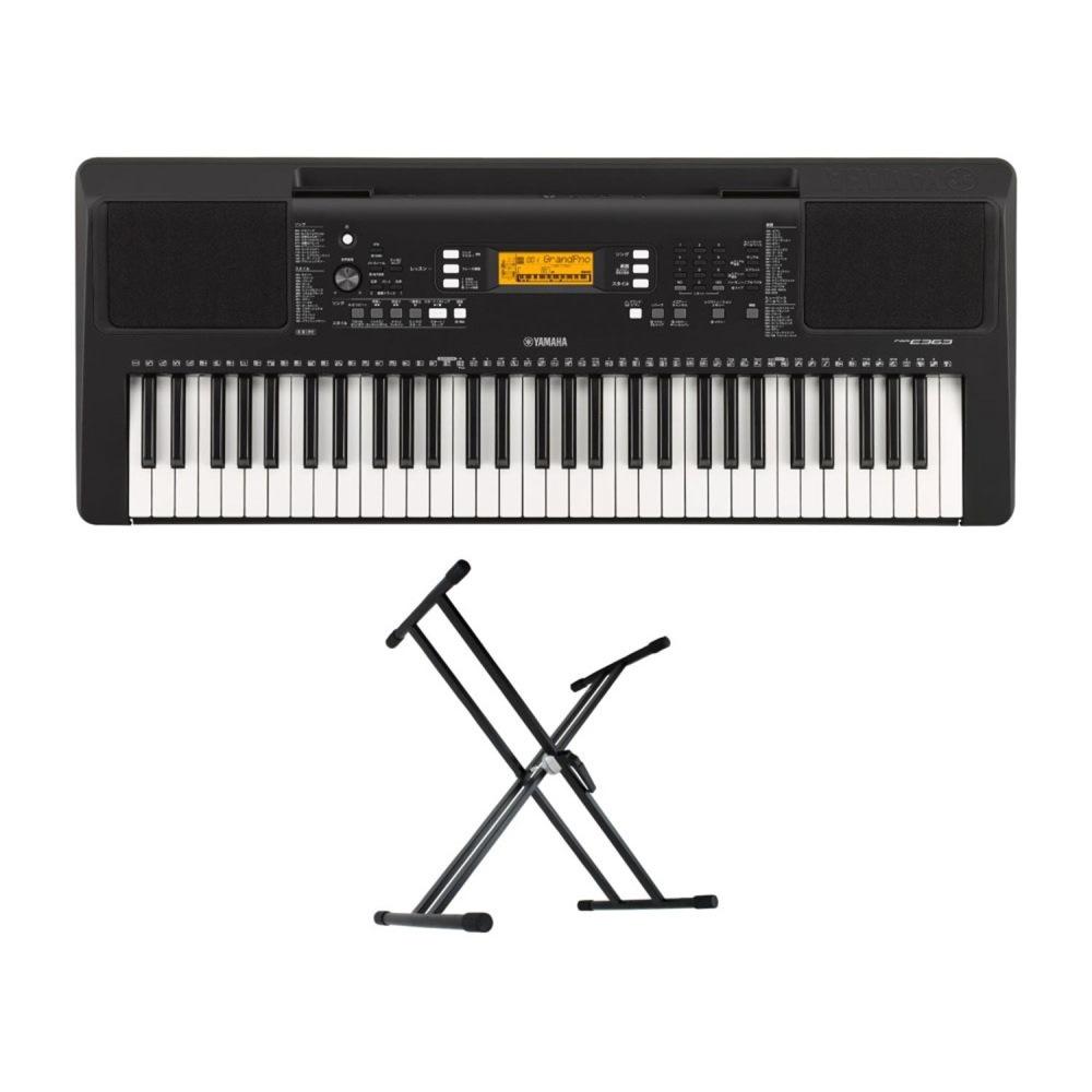 YAMAHA PSR-E363 PORTATONE 61鍵盤 電子キーボード Dicon Audio KS-020 X型キーボードスタンド 2点セット