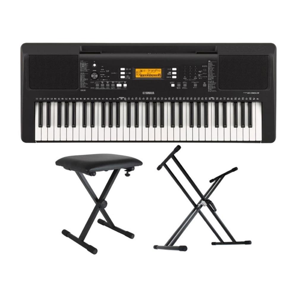 YAMAHA PSR-E363 PORTATONE 61鍵盤 電子キーボード Dicon Audio KS-020 X型キーボードスタンド キーボードベンチ 3点セット