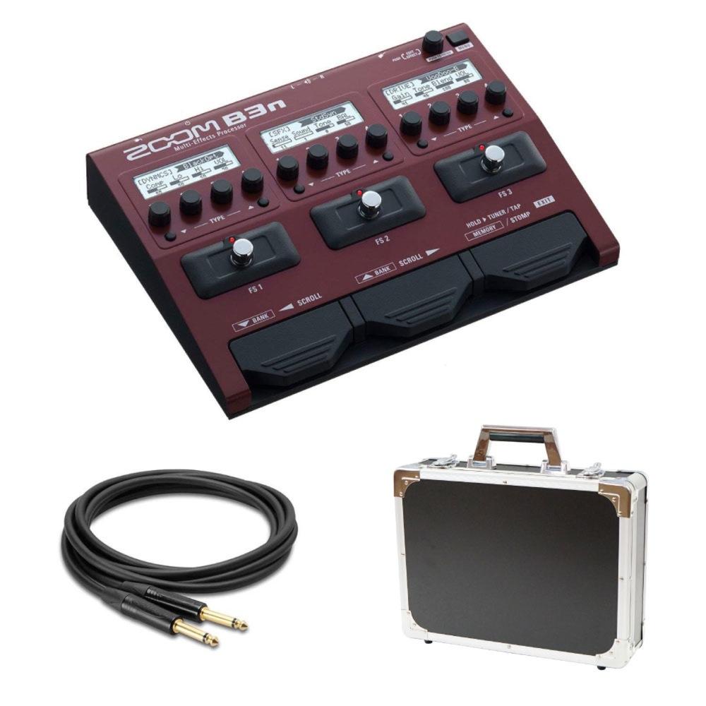有名ブティックペダルのモデリング70種類のエフェクト搭載 ZOOM B3n ベースマルチエフェクター Dicon Audio エフェクターケース HOSA ノイトリックプラグ採用ギターケーブル4.5m 3点セット