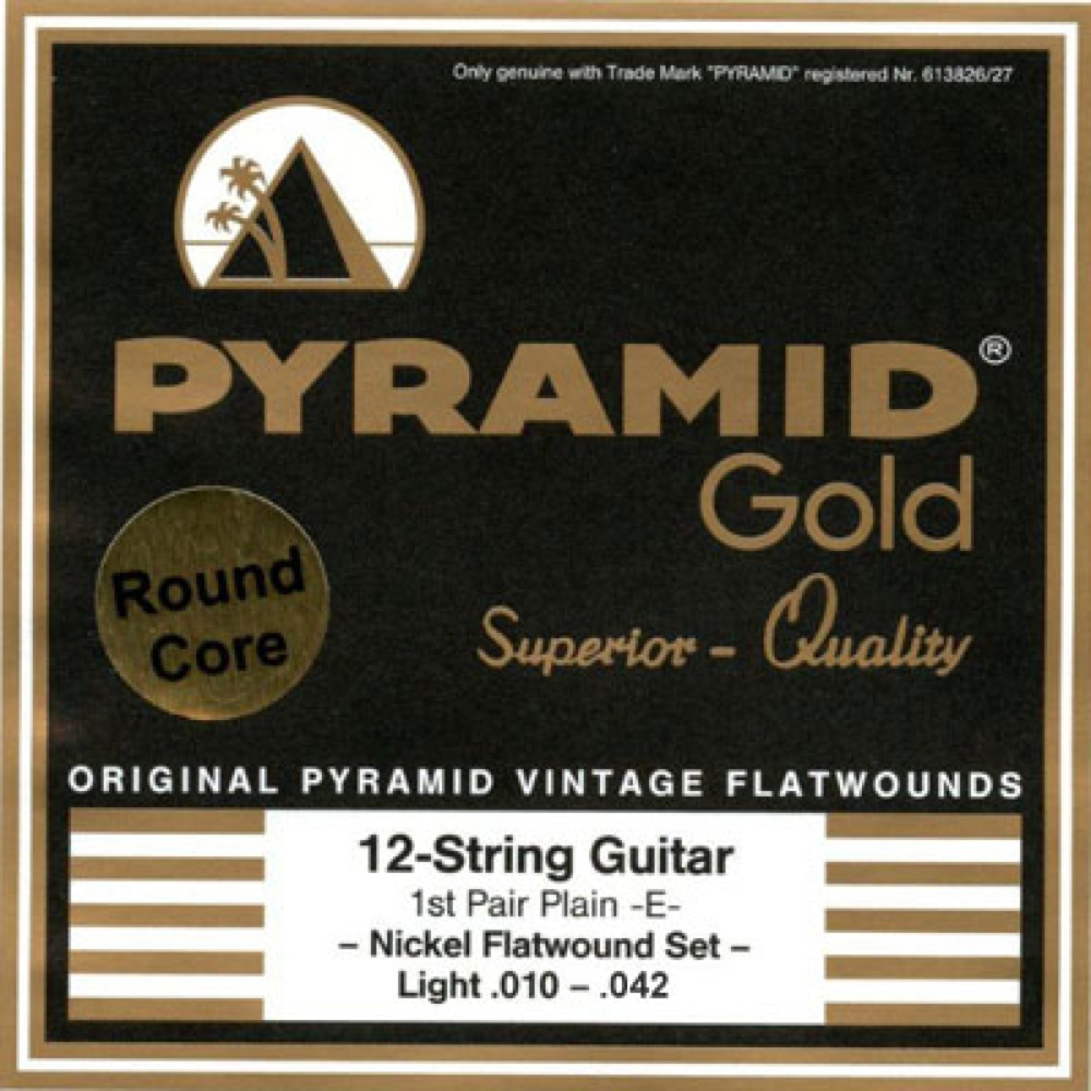 PYRAMID STRINGS EG Gold 12 strings 010-042 chrome nickel flatwounds on round core フラットワウンド 12弦用エレキギター弦×6セット
