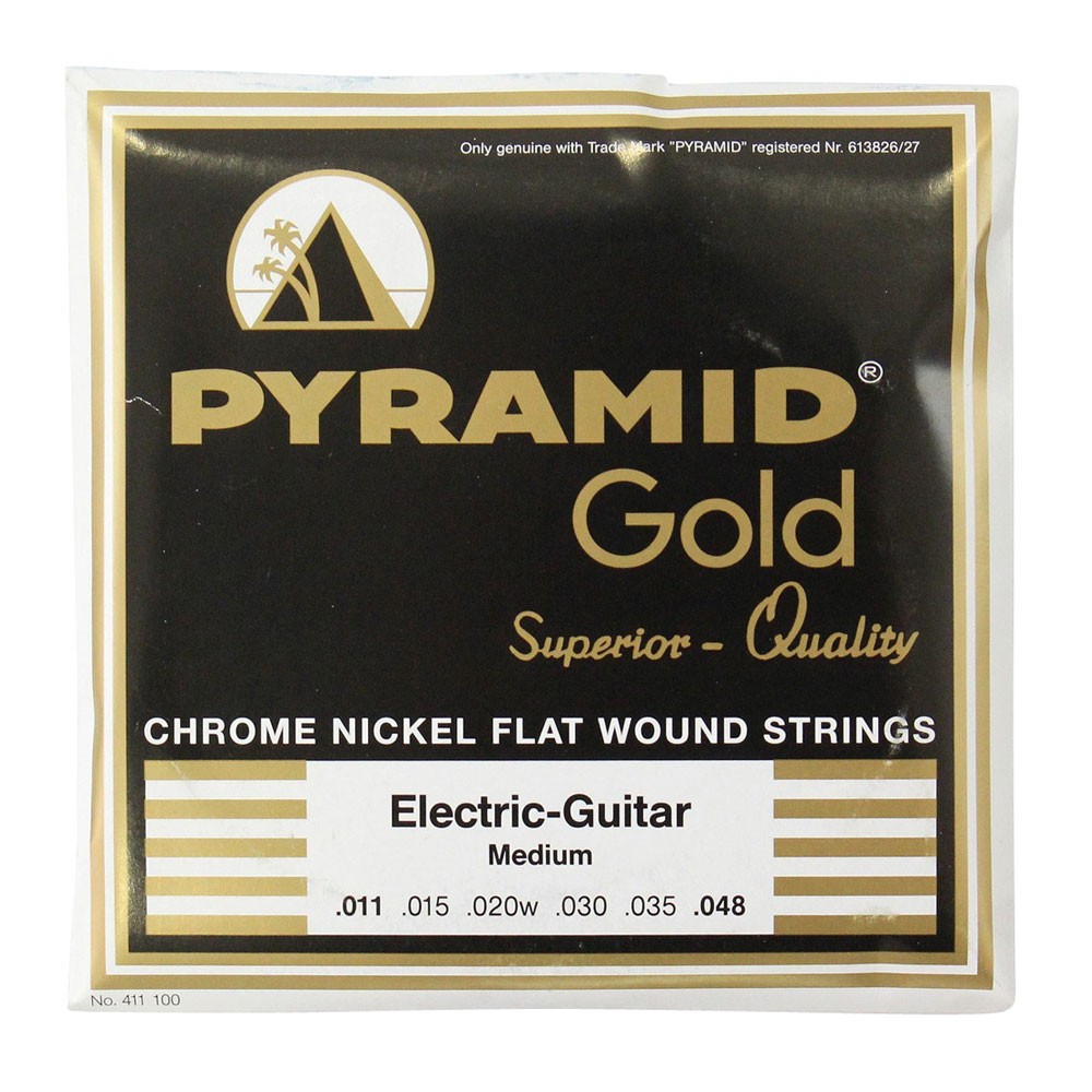PYRAMID STRINGS EG Gold 011-048 chrome nickel flatwounds on round core フラットワウンド エレキギター弦×3セット