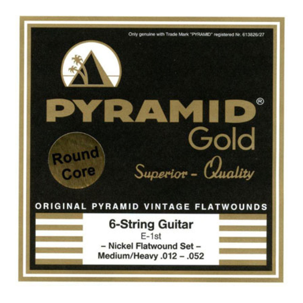 PYRAMID STRINGS EG Gold 012-052 chrome nickel flatwounds on round core フラットワウンド エレキギター弦×6セット