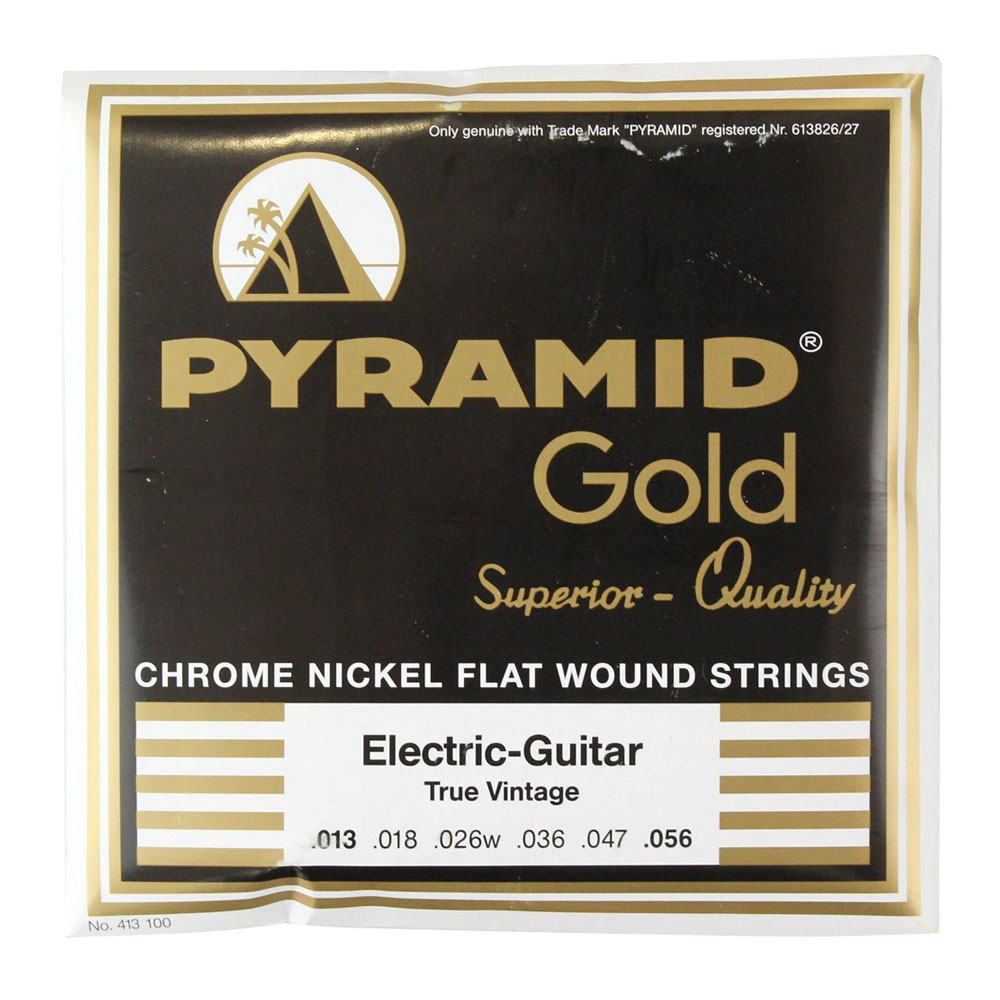 PYRAMID STRINGS EG Gold 013-056 chrome nickel flatwounds on round core フラットワウンド エレキギター弦×6セット
