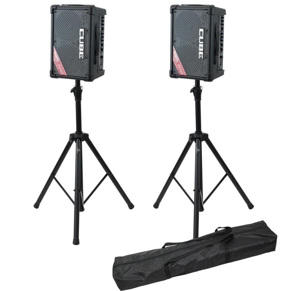 ROLAND CUBE Street EX BK ステレオ ポータブルアンプ ×2台 Dicon Audio SS-062 スピーカースタンド ペア 3点セット