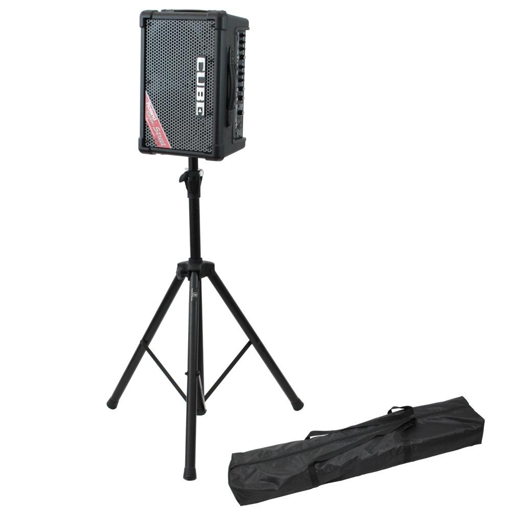 ROLAND CUBE Street EX BK ステレオ ポータブルアンプ Dicon Audio SS-062 スピーカースタンド 2点セット