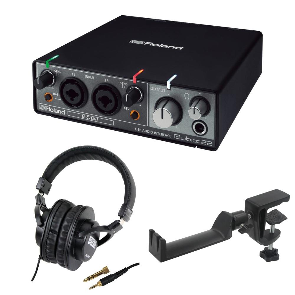 ROLAND Rubix22 USB AUDIO INTERFACE オーディオインターフェイス SD GAZER SDG-H5000 モニターヘッドホン SEELETON マルチアングル ヘッドホンハンガー 3点セット