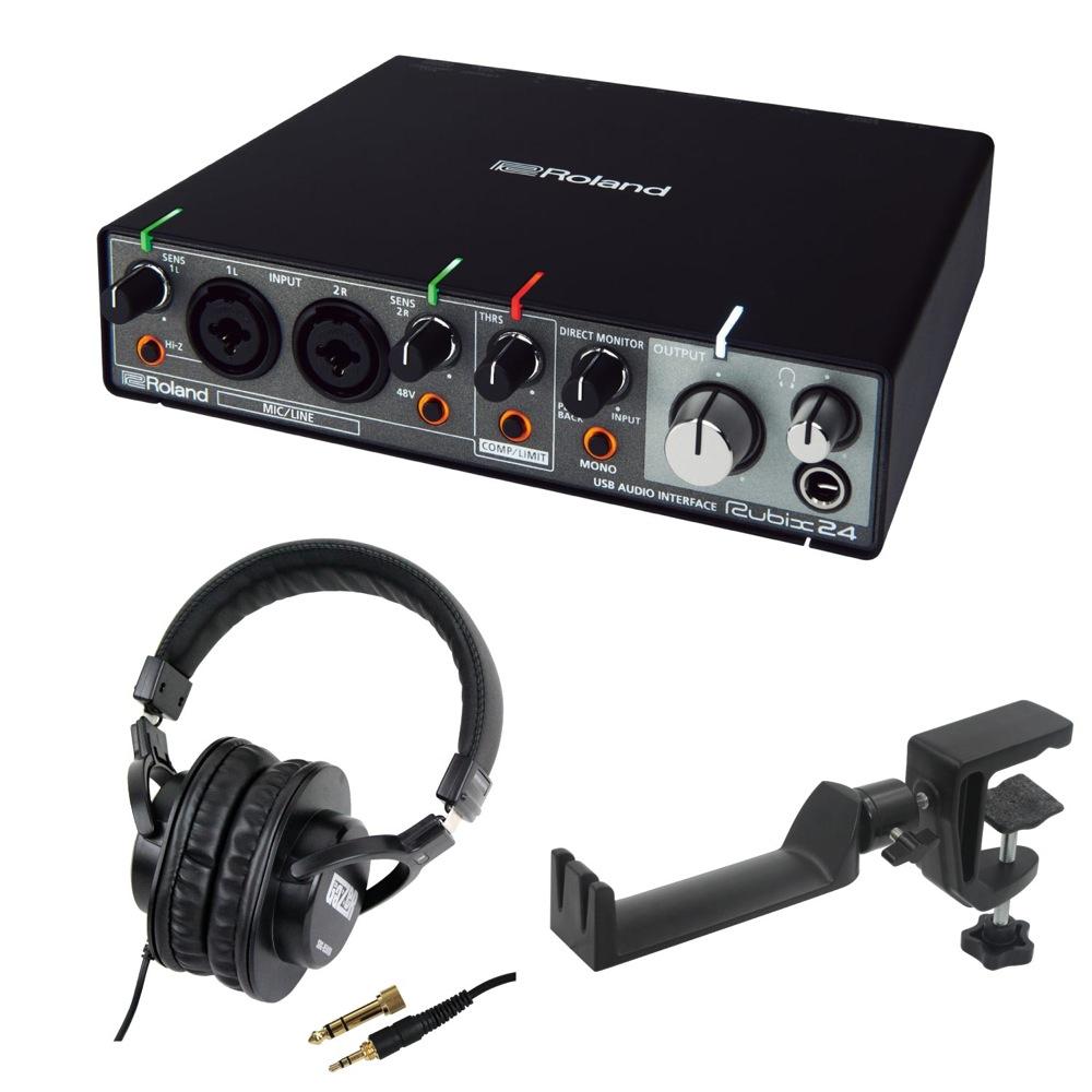 ROLAND Rubix24 USB AUDIO INTERFACE オーディオインターフェイス SD GAZER SDG-H5000 モニターヘッドホン SEELETON マルチアングル ヘッドホンハンガー 3点セット
