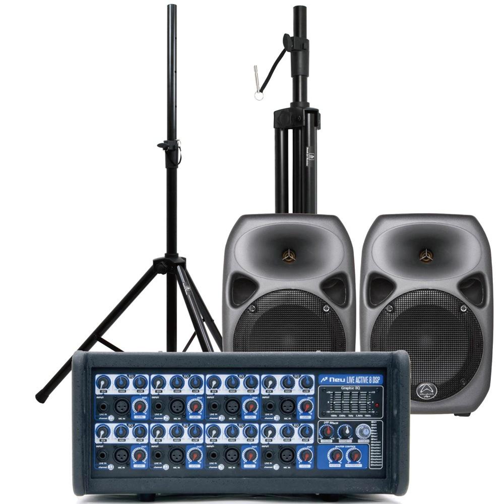 NEU LiveActive8 パワードミキサー Wharfedale Pro Titan8 スピーカー2本 スタンド(ペア) 簡易PA 4点セット