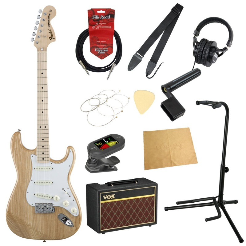 フェンダーから始める!大人の入門セット Fender Made in Japan Traditional '70s Stratocaster MN NAT ASH エレキギター VOXアンプ付 11点セット