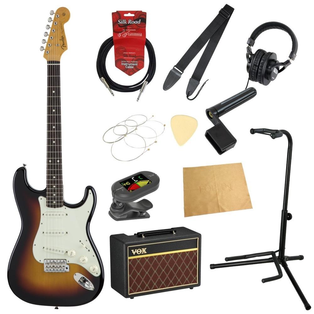 フェンダーから始める!大人の入門セット Fender Made in Japan Traditional '60s Stratocaster 3TSB エレキギター VOXアンプ付 11点セット