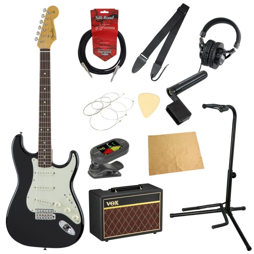 フェンダーから始める!大人の入門セット Fender Made in Japan Traditional '60s Stratocaster BLK エレキギター VOXアンプ付 11点セット