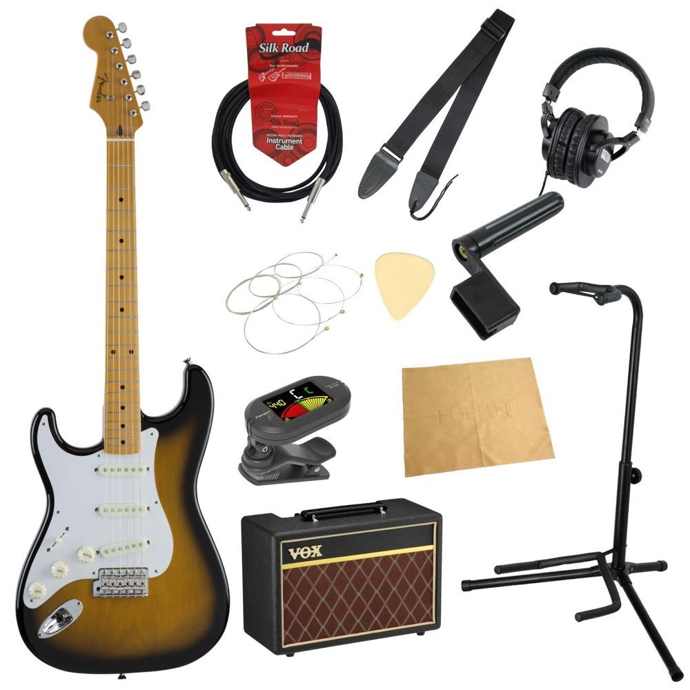 フェンダーから始める!大人の入門セット Fender Made in Japan Traditional '50s Stratocaster Left-Hand 2TSB レフティ エレキギター VOXアンプ付 11点セット