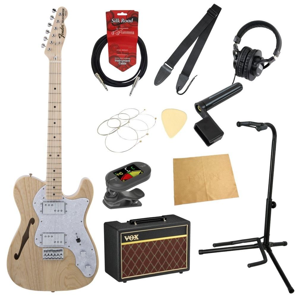 フェンダーから始める!大人の入門セット Fender Made in Japan Traditional '70s Telecaster Thinline NAT エレキギター VOXアンプ付 11点セット
