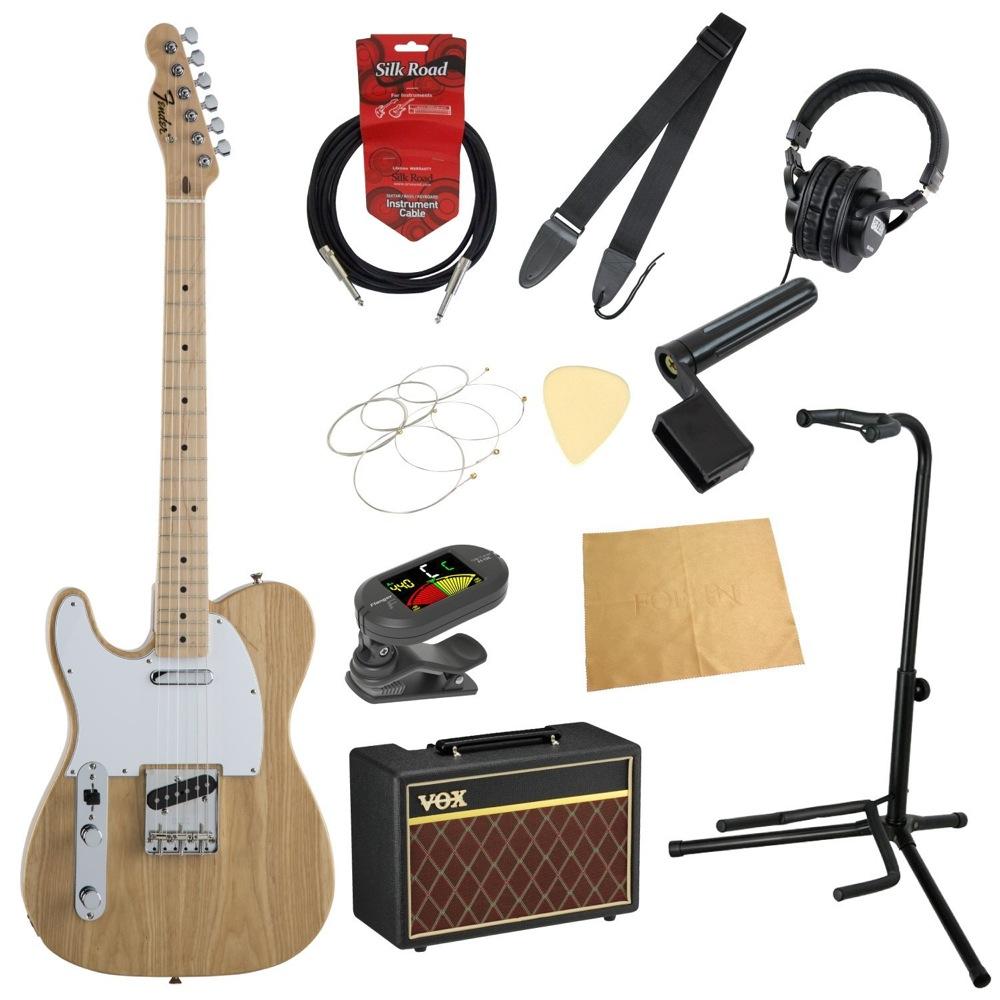 フェンダーから始める!大人の入門セット Fender Made in Japan Traditional 70s Telecaster Ash Left-Hand MN NAT レフティ エレキギター VOXアンプ付 11点セット
