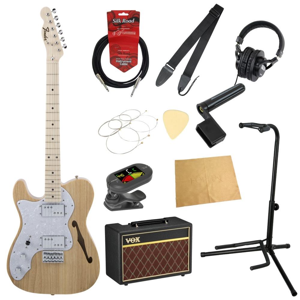 フェンダーから始める!大人の入門セット Fender Made in Japan Traditional '70s Telecaster Thinline Left-Hand NAT レフティ エレキギター VOXアンプ付 11点セット