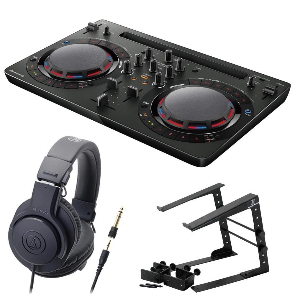 Pioneer DDJ-WEGO4-K black DJコントローラー LPS-002 ラップトップスタンド AUDIO-TECHNICA ATH-M20x ヘッドフォン 3点セット