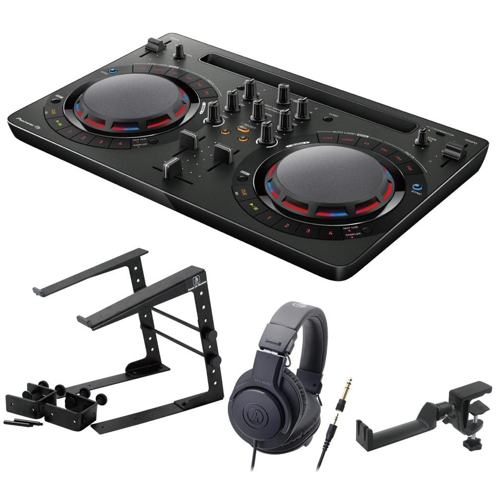 Pioneer DDJ-WEGO4-K black DJコントローラー LPS-002 ラップトップスタンド AUDIO-TECHNICA ATH-M20x ヘッドフォン SEELETON ヘッドホンハンガー 4点セット