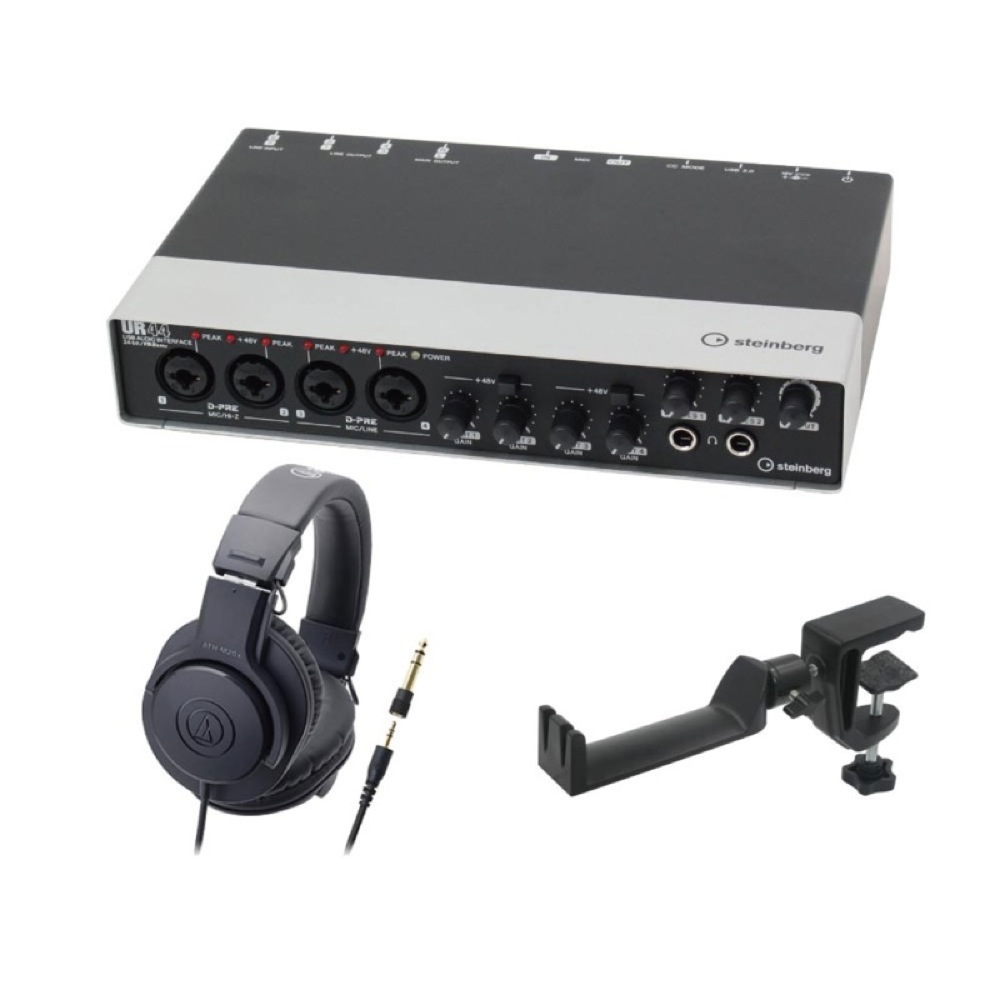 Steinberg UR44 6×4 USBオーディオインターフェース AUDIO-TECHNICA ATH-M20x モニターヘッドホン SEELETON マルチアングル ヘッドホンハンガー 3点セット
