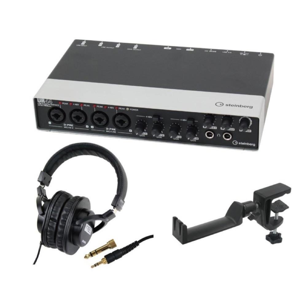 Steinberg UR44 6×4 USBオーディオインターフェース SD GAZER SDG-H5000 モニターヘッドホン SEELETON マルチアングル ヘッドホンハンガー 3点セット