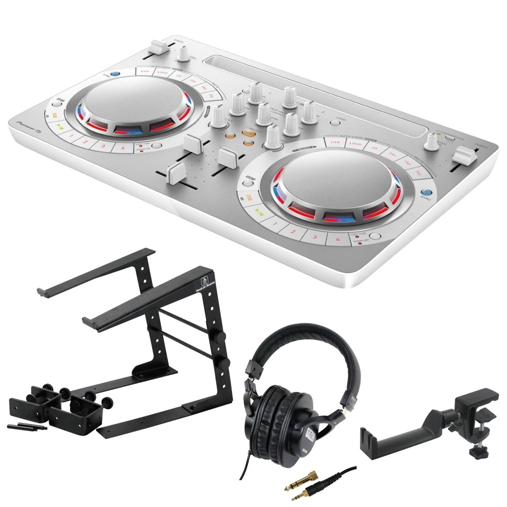 Pioneer DDJ-WEGO4-W white DJコントローラー LPS-002 ラップトップスタンド SD GAZER SDG-H5000 ヘッドフォン SEELETON ヘッドホンハンガー 4点セット
