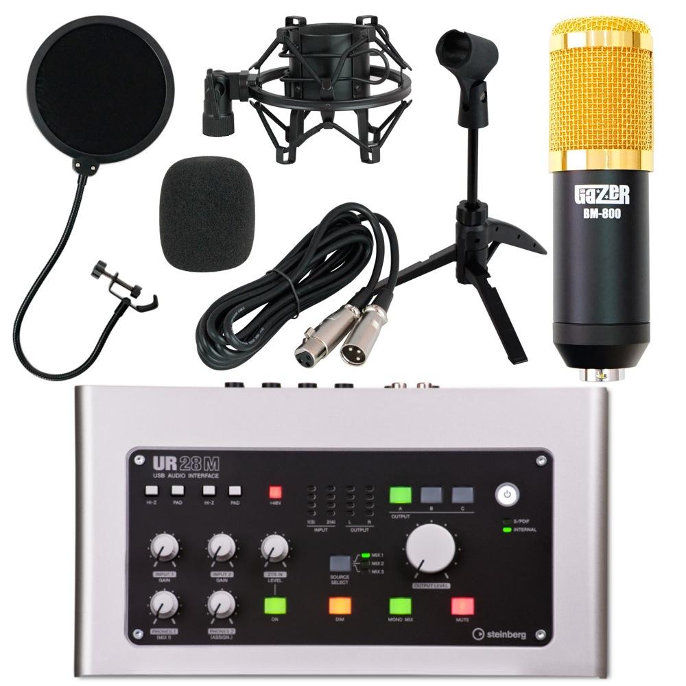 Steinberg UR28M 6×8 USBオーディオインターフェース SD GAZER BM-800 Black コンデンサーマイク Dicon Audio 卓上マイクスタンド SD GAZER ポップガード DTM 配信 4点セット