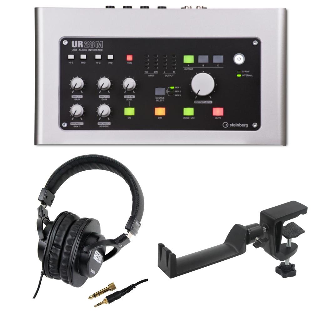 Steinberg UR28M 6×8 USBオーディオインターフェース SD GAZER SDG-H5000 モニターヘッドホン SEELETON マルチアングル ヘッドホンハンガー 3点セット