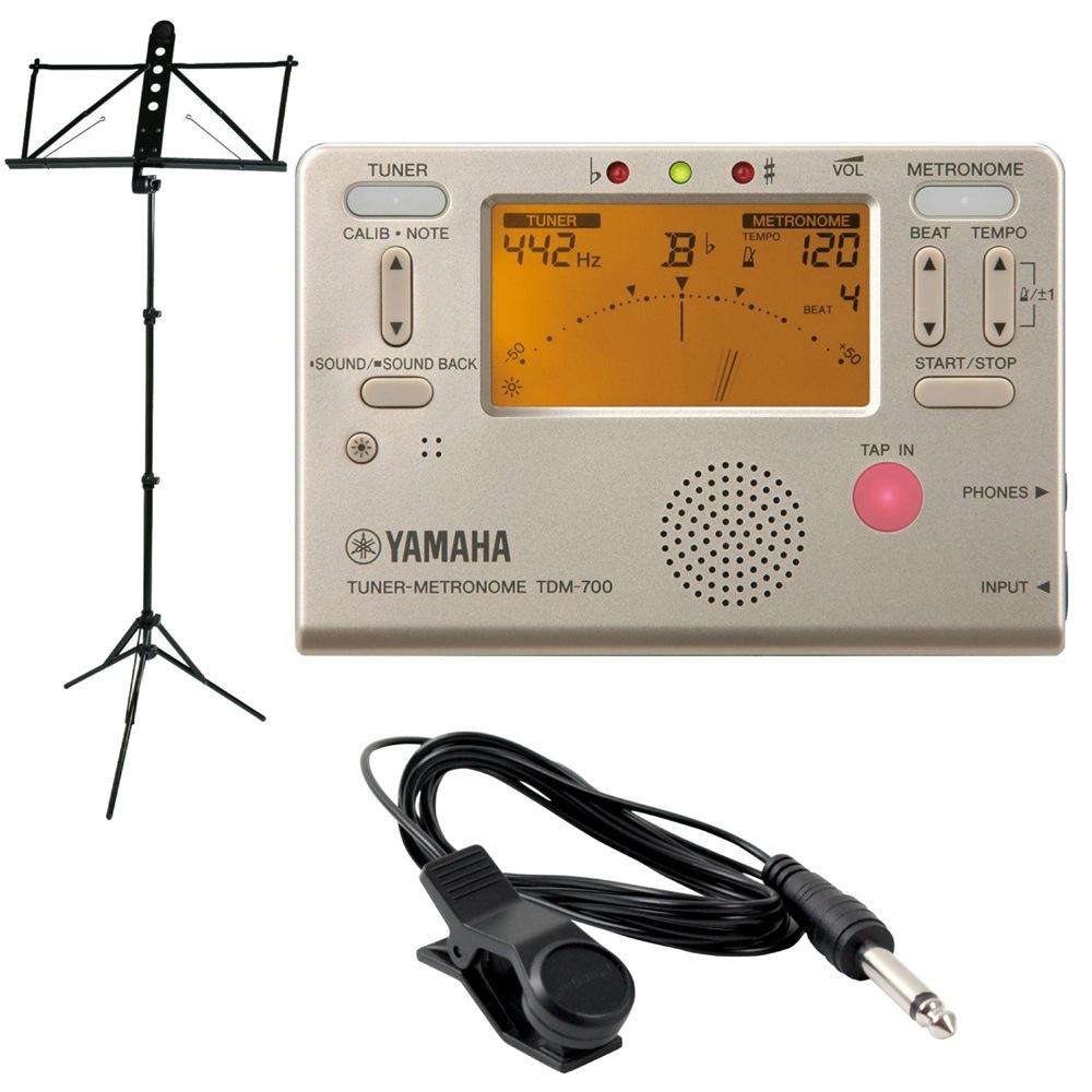 YAMAHA TDM-700G ゴールド チューナーメトロノーム YAMAHA MS-250ALS 譜面台付き 3点セット