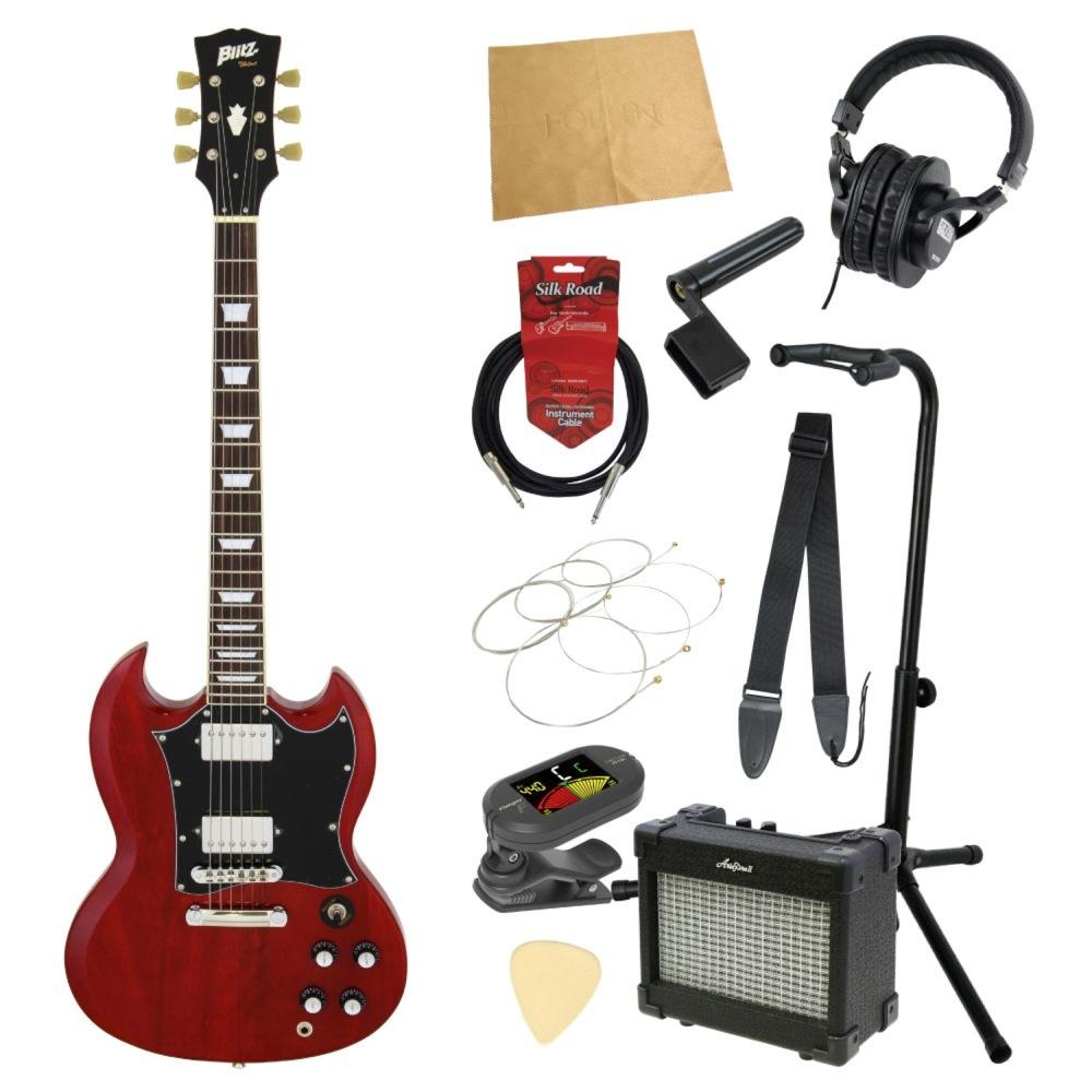 エレキギター入門11点セット BLITZ by ARIA BSG-STD WR