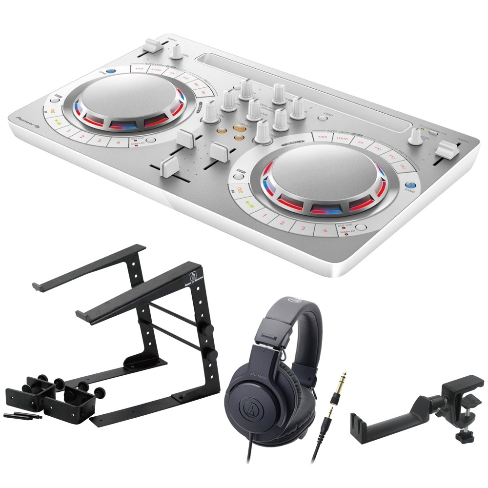 Pioneer DDJ-WEGO4-W white DJコントローラー LPS-002 ラップトップスタンド AUDIO-TECHNICA ATH-M20x ヘッドフォン SEELETON ヘッドホンハンガー 4点セット