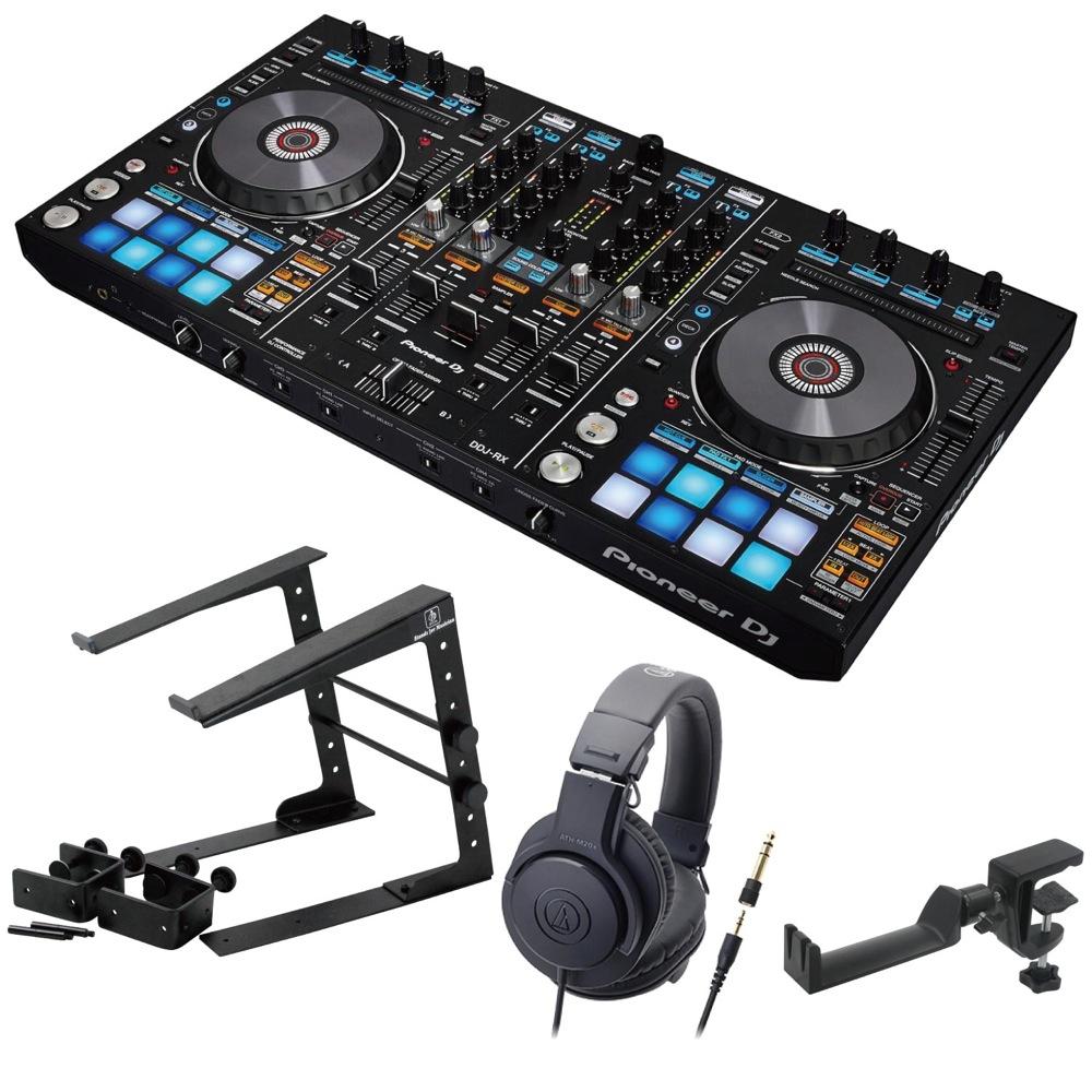 Pioneer DDJ-RX DJコントローラー LPS-002 ラップトップスタンド AUDIO-TECHNICA ATH-M20x ヘッドフォン SEELETON ヘッドホンハンガー 4点セット