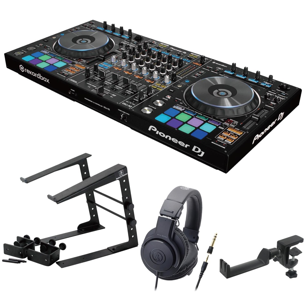 Pioneer DDJ-RZ DJコントローラー LPS-002 ラップトップスタンド AUDIO-TECHNICA ATH-M20x ヘッドフォン SEELETON ヘッドホンハンガー 4点セット